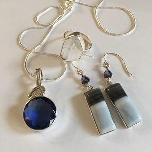 Sapphire, Owyhee Opal, Herkimer Diamond Set